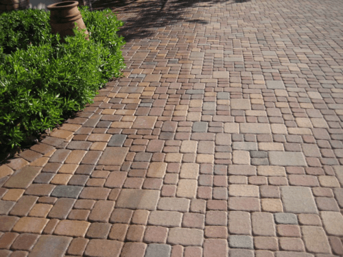 Before and after paver restoration image