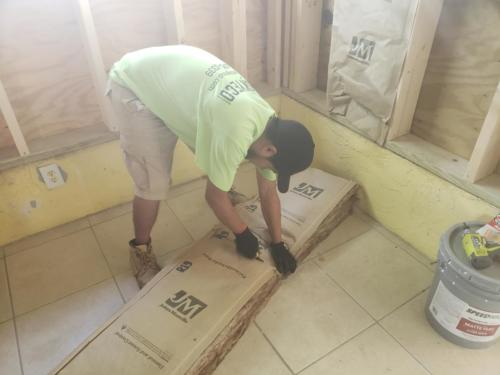 Construction worker in a home